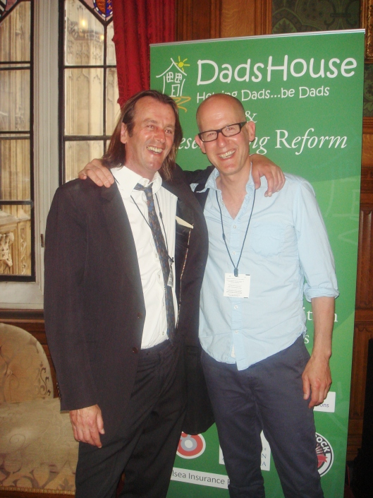 Harry Borden (right) with DadsHouse founder Billy McGranaghan (left) at the 'In Dad's Shoes' Launch at the House of Lords, June 2012